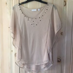 NYC tan top with sheer overlay